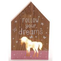 Follow Your Dreams, Unicorn Light Up Plaque