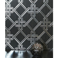 Gianni, Foil Wallpaper - Black and Silver