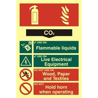 ASEC Fire Extinguisher 200mm x 300mm PVC Self Adhesive Photo luminescent Sign - CO2