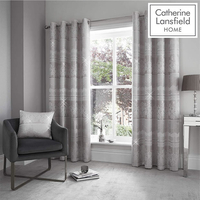 Catherine Lansfield Elegance Jacquard Eyelet Curtains 90 x 90 Inch - Silver