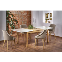 Divante Oak And White Extending Dining Table 140cm-210cm