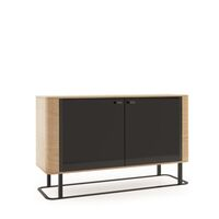 Grantham 151cm Oak And Black High Gloss 2 Door Sideboard