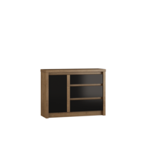 Andrella 120cm Small Oak And Black Gloss Sideboard