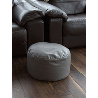 Grey Faux Leather Pouffe Footstool
