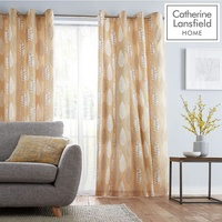 Catherine Lansfield Stockholm Leaves Curtains - Ochre