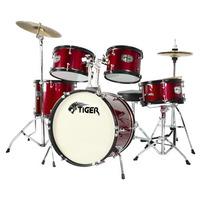 Tiger 5 Piece Junior Drum Kit - Drum Set for Kids in Red
