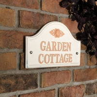 Aluminium Painted Bridge House Sign 36 x 19cm - Cream