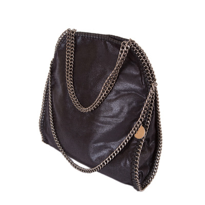 Stella Style Metallic Faux Suede Large Chain Bag - Black