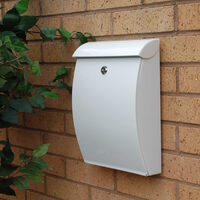 All Weather White Plastic Letterbox - non personalised version