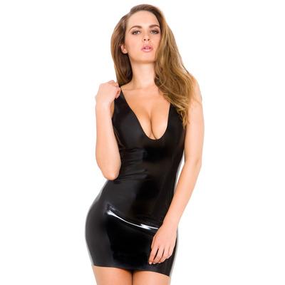 Deep V Neck MiniLatex Dress Black