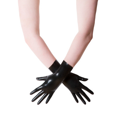 Black Moulded Short Latex Gloves