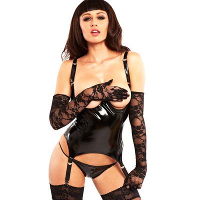 PVC Striptease Basque Black