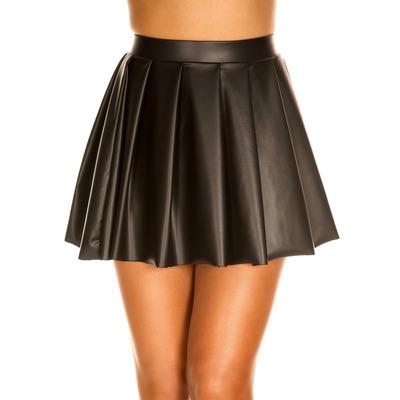 Wet Look High Waisted Full Pleated Skirt
