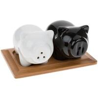 Joe Davies Black/White Pig Cruet Set with Bamboo Stand
