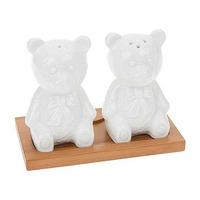 Joe Davies White Bamboo Teddy Bear Cruet Set