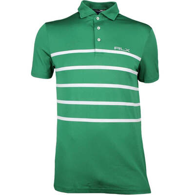 RLX Golf Shirt - Stripe Tech Pique - Bush Green SS18