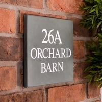 Slate House Sign 3 line 23 x 20.5cm - smoky green slate