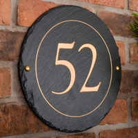 Round Rustic Slate House Number personalised with your number 30cm