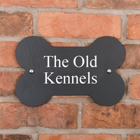 Bone Shaped Rustic Slate House Sign personalised with your address