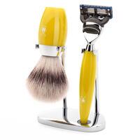 Muhle Kosmo Yellow Fusion Razor and Synthetic Brush Shaving Set