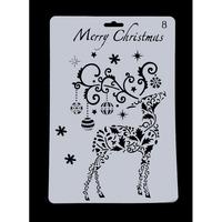 Large Plastic Stencil - Reindeer Christmas (1pc)