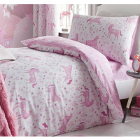 Catherine Lansfield Folk Unicorn Single Duvet Set Pink