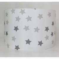 Multi Grey and White Stars, Large Fabric Light Shade