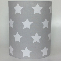 Big White Stars, Grey Medium Fabric Light Shade