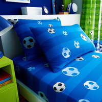 Football Single Fitted Sheet and Pillowcase - Blue