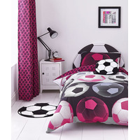 Catherine Lansfield Neon Football Cotton Rich Double Duvet Set Pink