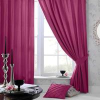 Cerise Pink Faux Silk Curtains - 54s