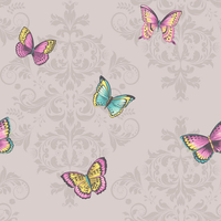 Damask Butterflies Wallpaper - Grey