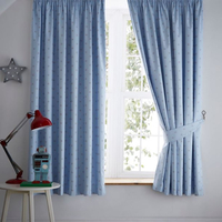 Pale Blue, Grey Star Blackout Curtains 72s