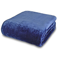 Catherine Lansfield Extra Large Plain Raschel Throw - Navy