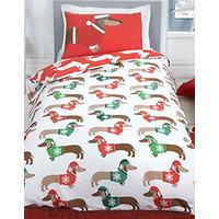 Christmas Sausage Dog Single Bedding