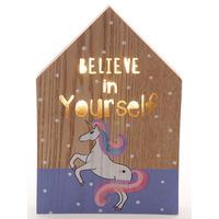Believe in Yourself, Unicorn Light Up Plaque