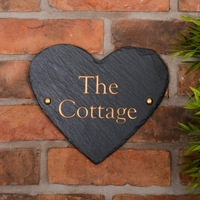 Heart Shaped Rustic Slate House Sign personalised with your name