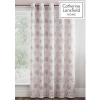 Catherine Lansfield Charlotte Easy Care Eyelet Curtains, Blush, 66 x 72 Inch