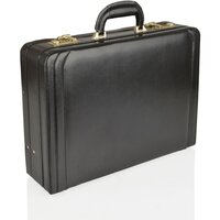 Woodland Leather Genuine Bonded Leather Expanding Attache Case - Black