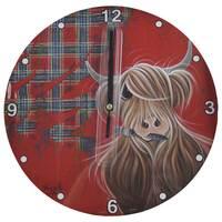 McMoo Tartan Wooden Clock