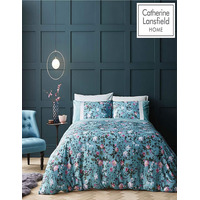 Catherine Lansfield Botanical Floral, Double Duvet Set - Teal