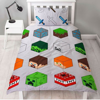 Minecraft Bedding, Childrens Single Duvet Set - Pixels