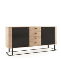 Grantham 191cm Oak And Black High Gloss 2 Door Sideboard