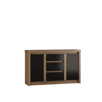 Andrella 145cm Oak And Black Gloss Sideboard