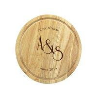 Monogram Wooden Round Cheese Board