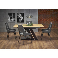 Fergie 160cm Extending Oak And Black Dining Table