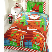Santas Chimney Christmas Themed Single Bedding