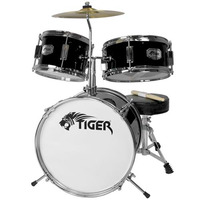 Tiger 3 Piece Junior Drum Kit - Drum Set for Kids in Black