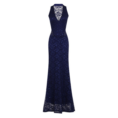 Nazz Collection Myleene Blue Lace Halterneck Maxi Dress