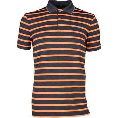 RLX Golf Shirt Striped Airflow Onyx Heather Orange SS17